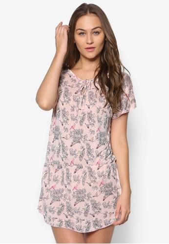 印花束腰短袖esprit 寢具連身裙, 服飾, 洋裝