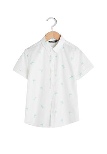 LC Waikiki white Patterned Short Sleeve Poplin Boy Shirt 3F652KA87136ACGS_1