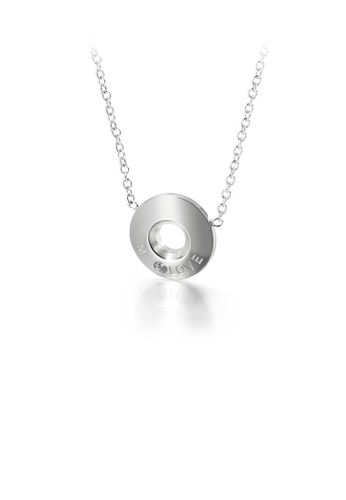 Glamorousky white Fashion Simple Geometric Round Love 316L Stainless Steel Pendant with Cubic Zirconia and Necklace 3AFE5ACC1DA74DGS_1