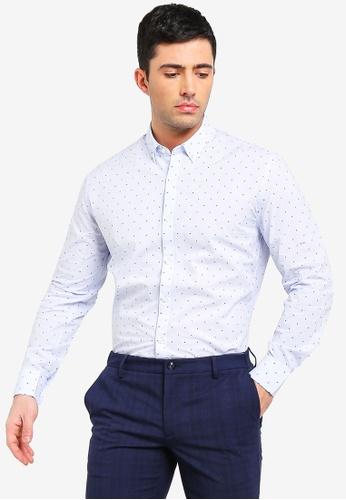 MANGO Man 藍色 刺繡襯衫 0C062AAAC2CB61GS_1