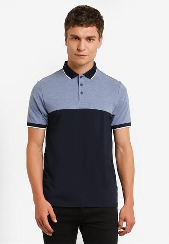 Burton Menswear London blue and navy Navy Blue Cut And Sew Stretch Polo Shirt BU964AA0RM6XMY_1