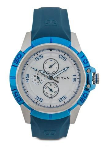 多功zalora 折扣碼能條紋矽膠帶手錶, 錶類, 錶類