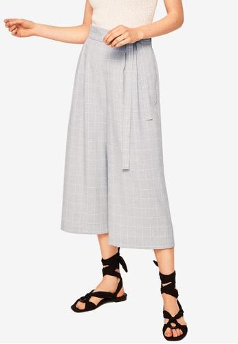 MANGO grey Check Crop Trousers 1FA75AA5BFD088GS_1