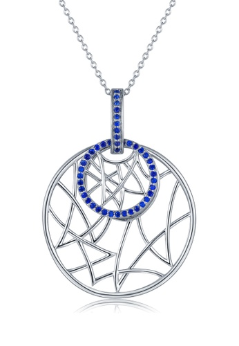 MBLife silver 925 Sterling Silver Blue CZ Circle Necklace 7CE72ACD586DF4GS_1