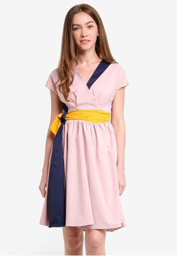 Megane pink Moreen Colorblock Dress ME617AA0RR2CMY_1