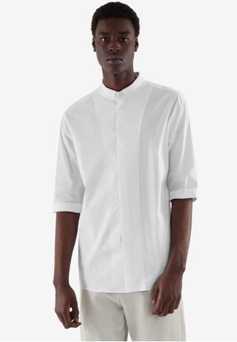 COS white Slim Collarless Shirt 636DEAAC191685GS_1