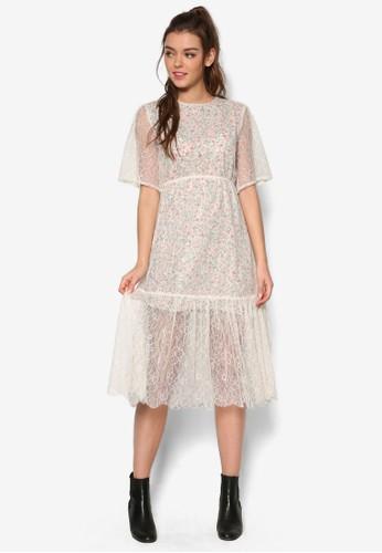花卉內襯蕾絲esprit outlet 桃園連身裙, 服飾, 洋裝