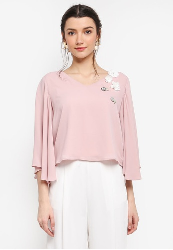 Zalia pink Embellished Flare Sleeve Crop Top 1D42EAA381A799GS_1