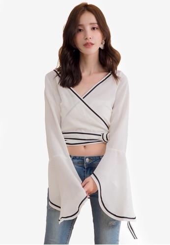 Kodz white Wrap Blouse With Tie Detail A2382AA3AD14BFGS_1