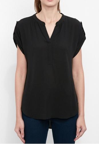 Dkny black DKNY Women Crinkle Rayon V Neck Top E4D84AA850F767GS_1