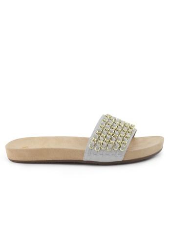 Shu Talk 銀色 型格銀鏈配飾真皮涼鞋 SH544SH09S74TW_1
