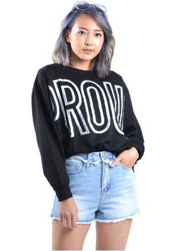 Kitschen black Proud Oversized Sweater Top 2EE5FAA0923FC9GS_1