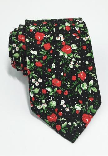 Splice Cufflinks Featherweight Series Rose Design Black Cotton Tie SP744AC09LPMSG_1