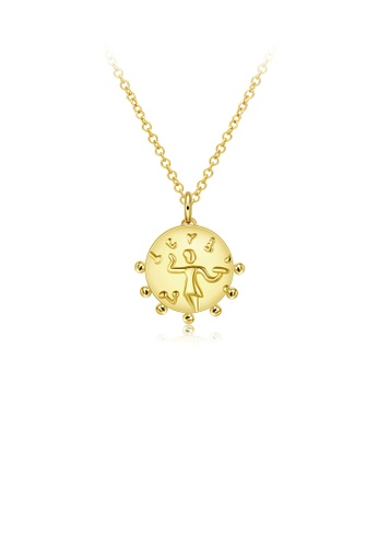 Glamorousky silver Fashion Simple Plated Gold Geometric Round Pendant with Necklace CC572AC69688A3GS_1