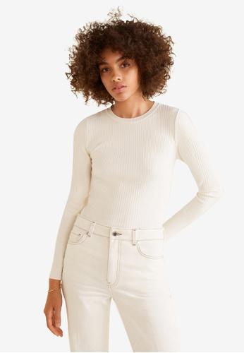 Mango white Ribbed Sweater C7B18AA1D3DC4CGS_1