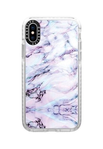 Casetify white and multi Marble Swirl Protective Impact Case with Camera Ring For iPhone XS - Frost A6F1BACF9E8D01GS_1