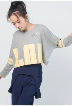 LOL七分袖短版T恤-灰色