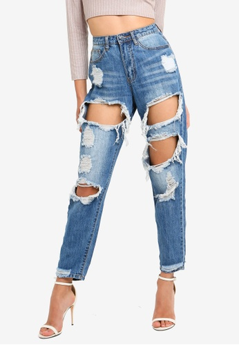 MISSGUIDED blue Riot High Rise Ripped Jeans E6832AAF3A11C8GS_1