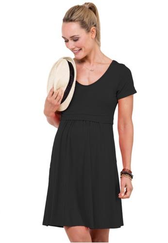 Bove by Spring Maternity black Knitted Short Sleeve Betsy V Neck Dress (LDN1905) BO010AA02PFTSG_1