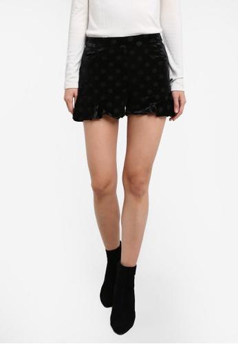 Mango black Polka-Dot Velvet Shorts MA193AA0RVZSMY_1