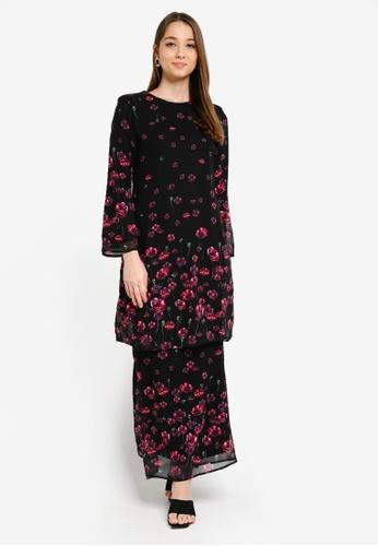 Era Maya black and pink Floweret Rose Dark Baju Kurung Chiffon 5B025AA28CE03AGS_1