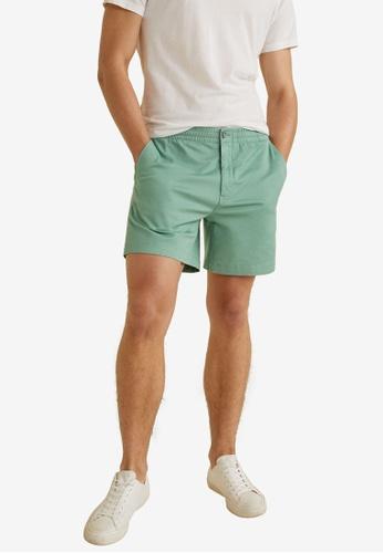 Mango Man 綠色 Elastic Waist Cotton Bermuda Shorts 754C2AA0FCE936GS_1