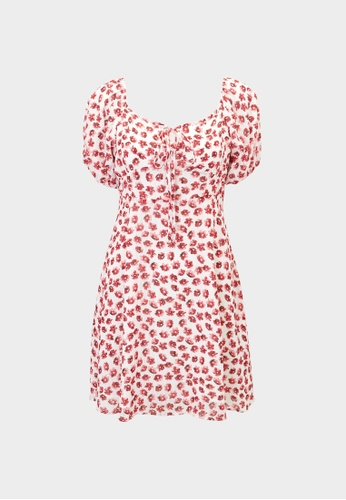 Pomelo red Mini Floral Puffed Sleeves Dress - Red CEFC5AA1329802GS_1