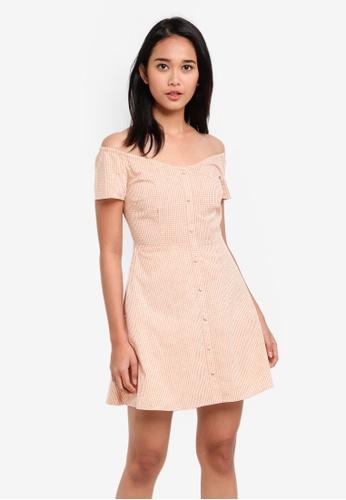 Something Borrowed orange Button Down Off Shoulder Dress E0E7DAA11AA067GS_1