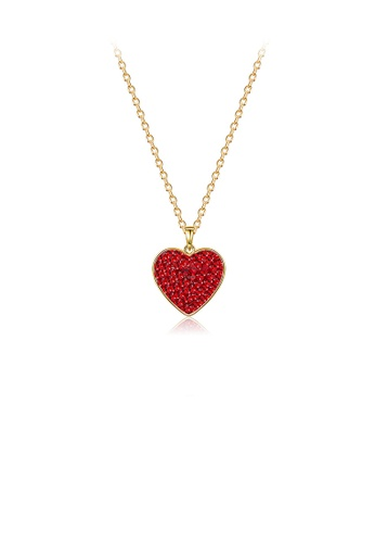 Glamorousky red 925 Sterling Silver Plated Gold Sweet Heart Pendant with Red Austrian Element Crystal and Necklace 3EF5FACB374731GS_1