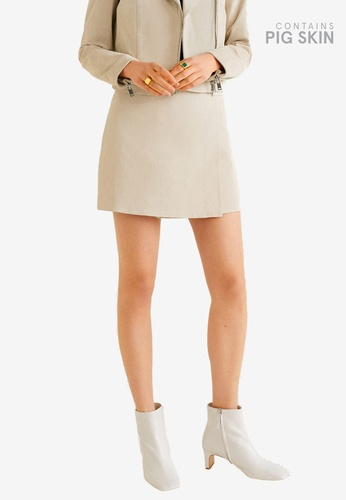 Mango grey Wrapped Leather Skirt 47E5EAAFC0DD40GS_1
