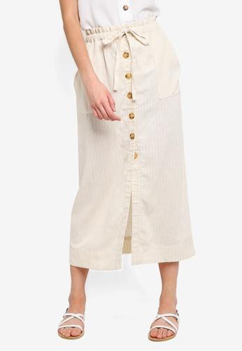 Cotton On beige Woven Molly Button Through Midi Skirt 3FA0FAAE01F918GS_1