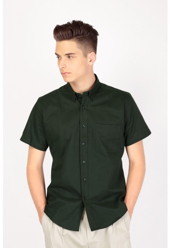 A for Arcade green Short Sleeve Twill Shirt in Forest Green AF376AA32BDJSG_1