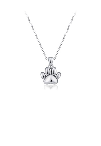 Glamorousky silver 925 Sterling Silver Simple Cute Puppy Paw Pendant with Necklace 0E499ACD8EB56FGS_1