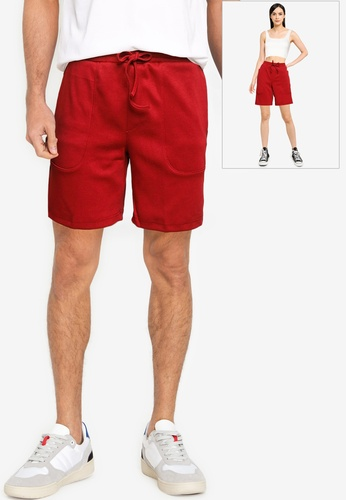 UniqTee red Comfort Fit Sweat Shorts with Drawstring 5771FAA22D5088GS_1