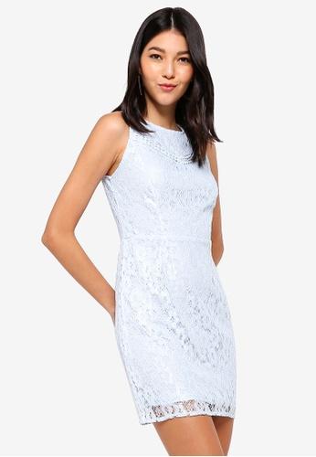 ZALORA blue Panel Lace Shift Dress 1AA33AA85597D8GS_1