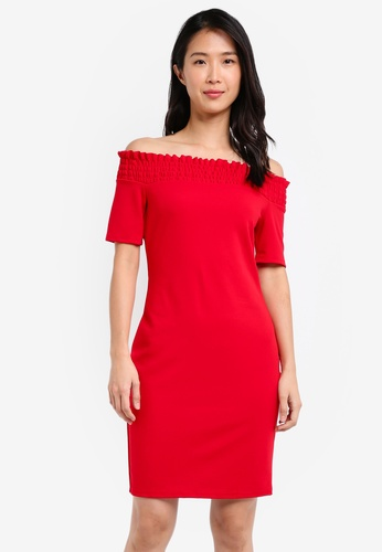 Dorothy Perkins red Cny: Red Shirred Bardot Bodycon Dress DO816AA0SKRRMY_1