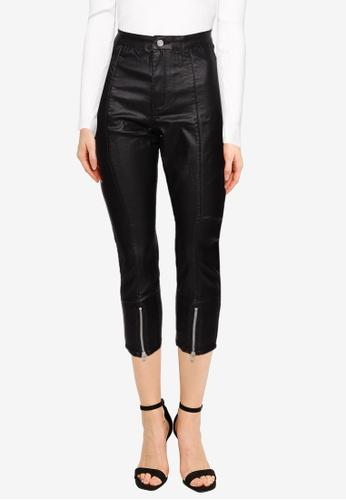 MISSGUIDED black Petite Split Hem Zip Coated Vice Jeans 5C5CDAA487307FGS_1