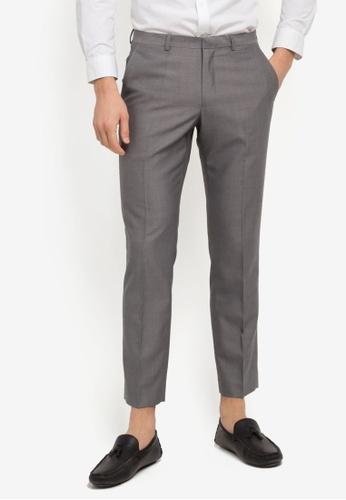 Burton Menswear London grey Slim Fit Fleck Trousers BU964AA0SWLVMY_1