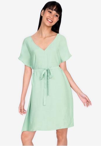 ZALORA BASICS green Raglan Sleeve Knee Length Dress AE1CCAAD24FEB5GS_1
