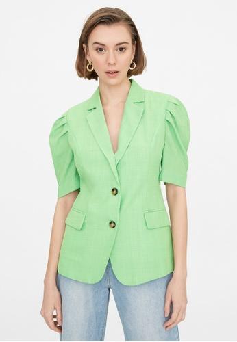 Pomelo green Double Button Puffed Sleeves Blazer - Green 8A0DAAA17958C8GS_1
