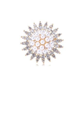 Glamorousky white Elegant and Bright Plated Gold Geometric Round Imitation Pearl Brooch with Cubic Zirconia 47D4AAC006444AGS_1