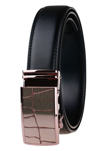 FANYU black Leather Dress Belt With Automatic Buckle 66409AC48FBBC9GS_1