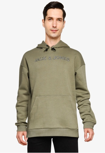Jack & Jones green Brodi Sweat Hoodie C9EDDAA7D66B8CGS_1