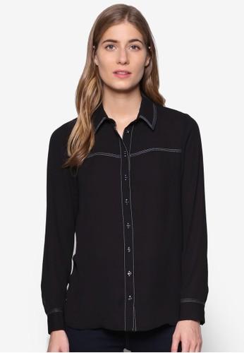 撞色縫線長esprit香港門市袖襯衫, 服飾, 上衣