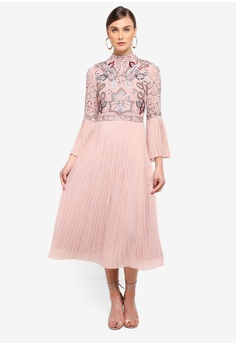 fb10e0e65e7b6 Frock and Frill pink Feodora Pleated High Neck Dress With Embellished  Bodice CA580AA7CFA97CGS 1