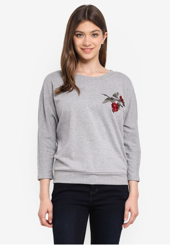 JACQUELINE DE YONG grey Frida L/S Embroidered Sweatshirt D229FAA7392358GS_1