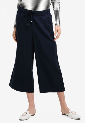 ESPRIT navy Woven Cropped Pants F8DB7AA4CE094BGS_1