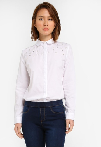 Dorothy Perkins white Plain Embellished Shirt DO816AA0SJ5VMY_1