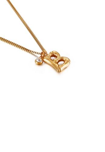 Glamorousky 白色 時尚簡約鍍金色英文字母B 316L鋼吊墜配鋯石及項鏈 E764BAC0183656GS_1