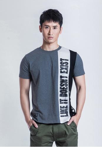 L.I.M.I.T.E 黑色 and 灰色 and 白色 拼布印花T恤 35B34AAC0E8944GS_1